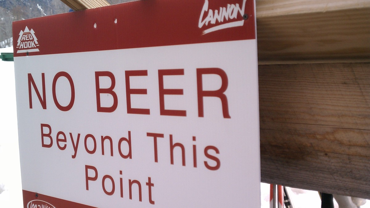 A sign says, no beer beyond this point